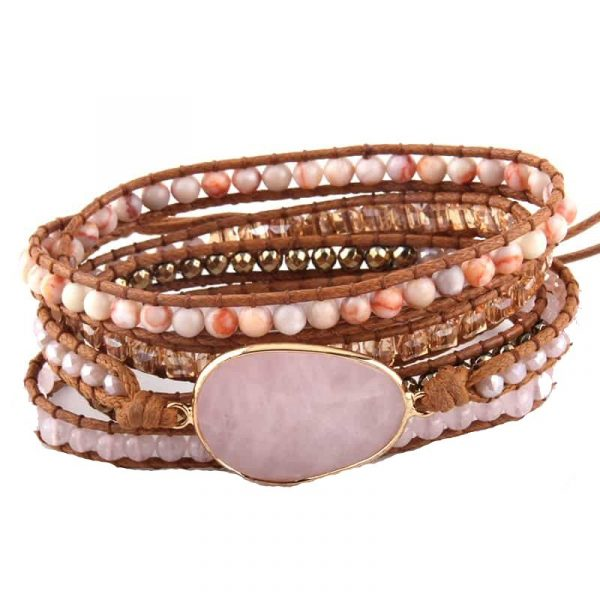Rose quartz leather wrap bracelet with crystal and stone