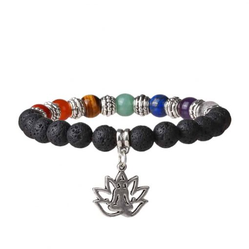 Chakra and lava stone bracelet with lotus yoga pose pendant