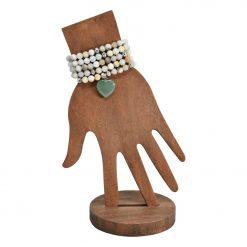 Amazonite mala with heart pendant