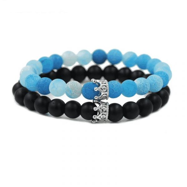 Blue and black matte stone crown distance bracelets