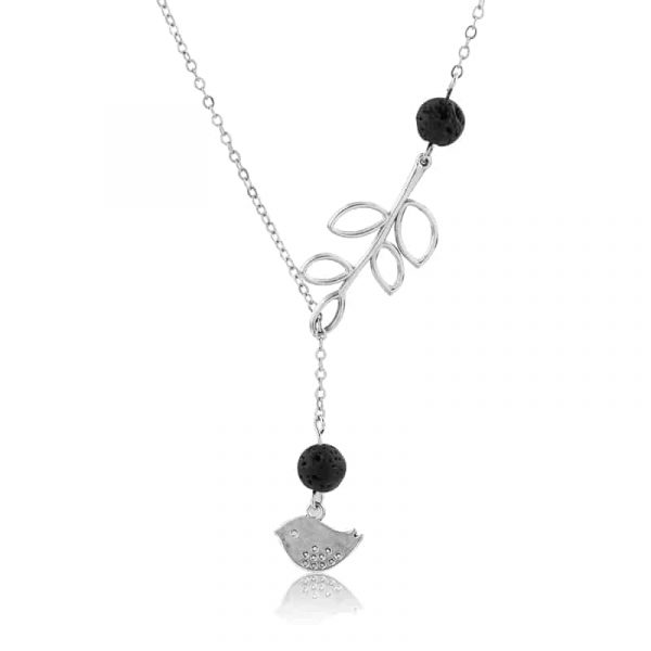 Bird and leaf lava stone diffuser necklace