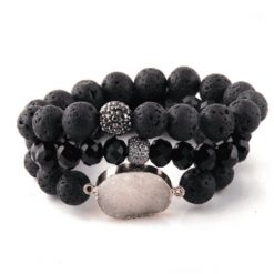 Black lava stone bracelet set with druzy pendant