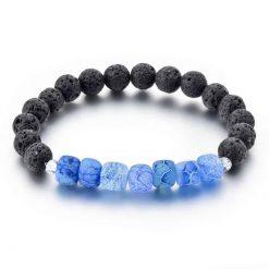 Blue dragon vein agate diffuser bracelet with lava stone