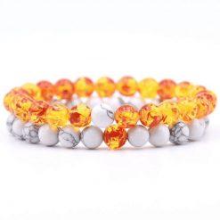 Orange and white stone distance bracelet set