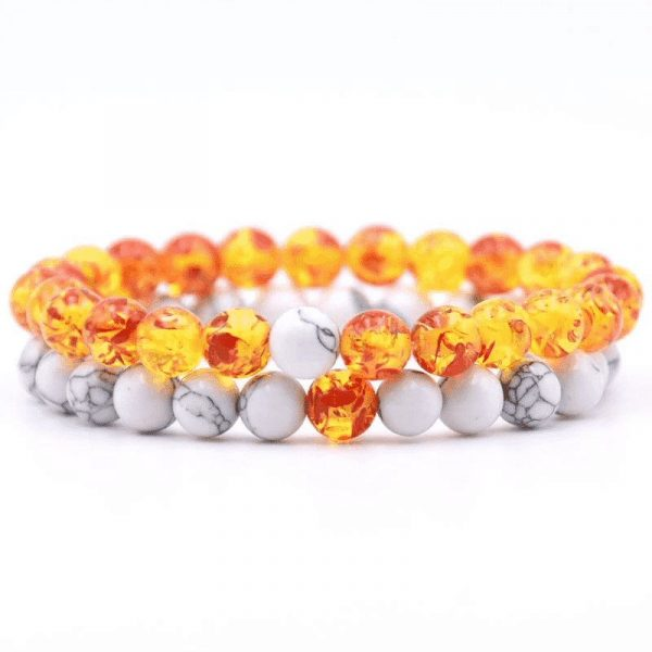 Orange and white stone distance bracelet set
