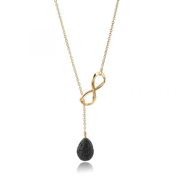 Infinity diffuser necklace with lava tear drop pendant