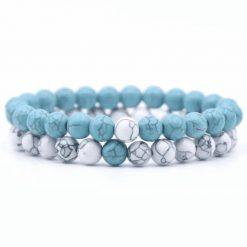 Turquoise and white howlite stone distance bracelet set