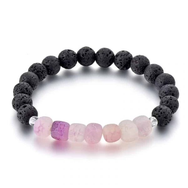 Pink dragon vein agate diffuser bracelet with beaded lava stone