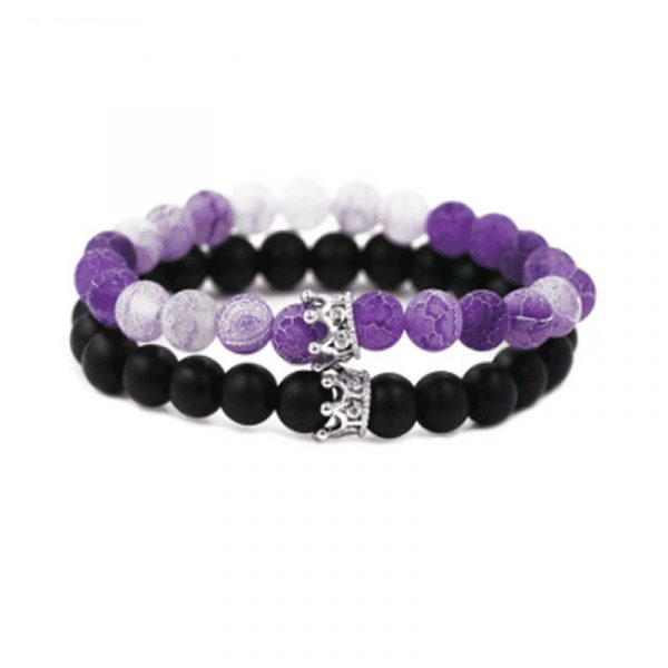 Purple and black matte stone crown distance bracelets