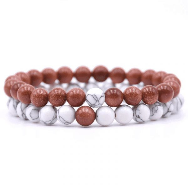 Red goldstone distance bracelet set
