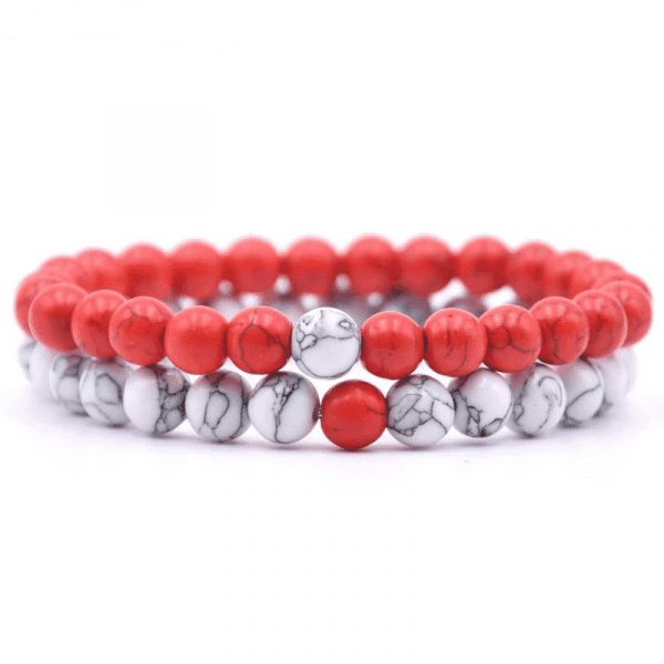 Red and white howlite distance bracelet set