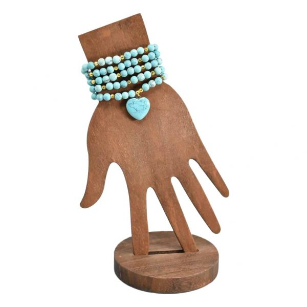 Turquoise mala with heart pendant