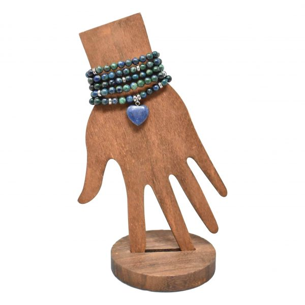 Lapis lazuli mala with heart pendant