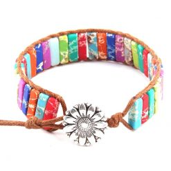 Rainbow multi-color wrap bracelet with sunflower facet
