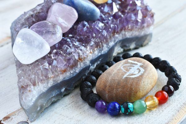 7 Chakra Bracelet and Amethyst Cluster