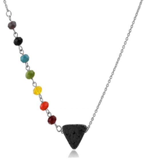 7 chakra beaded necklace with triangle lava stone pendant