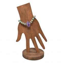 African turquoise and amethyst terminated stone point tassel bracelet