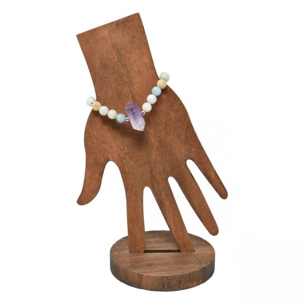 Amazonite and amethyst terminated stone point bracelet with tassel