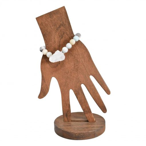 Amazonite bracelet with raw quartz stone