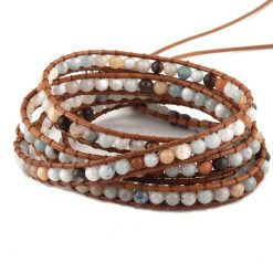 Amazonite leather wrap bracelet beaded bracelet with crystal and stone