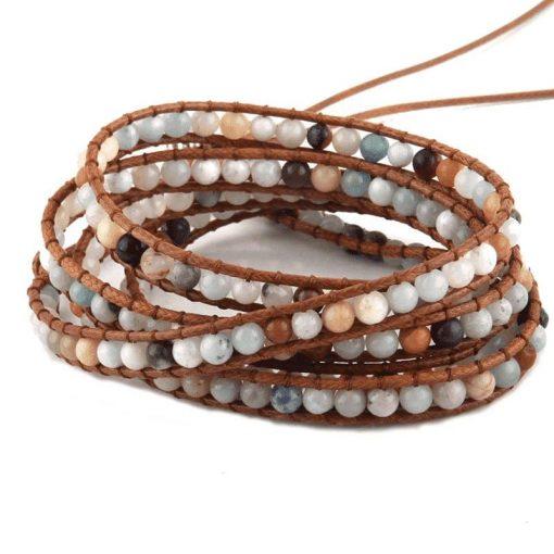 Amazonite leather wrap bracelet beaded bracelet with crystal and stone
