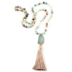 Amazonite beaded tassel necklace with stone pendant