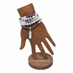 Amethyst 108 prayer beads bracelet with stone pendant