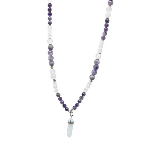 Amethyst mala necklace with pointed stone pendant