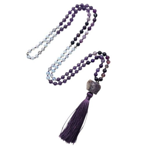 108 mala prayer beaded necklace with tassel