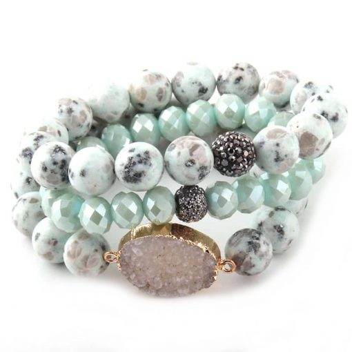 Aqua druzy stone layer bracelet with crystal and rhinestone