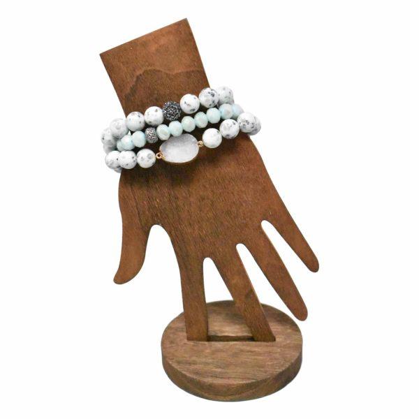 Aqua layer bracelet with druzy stone pendant