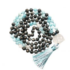 Black Labradorite mala tassel necklace with clear quartz pendant
