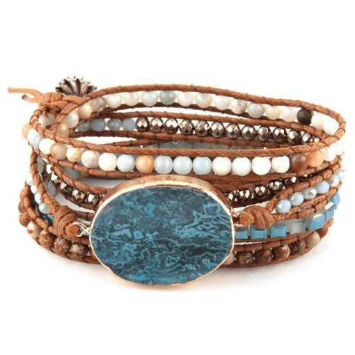 Ocean Jasper leather wrap bracelet with crystal and stone