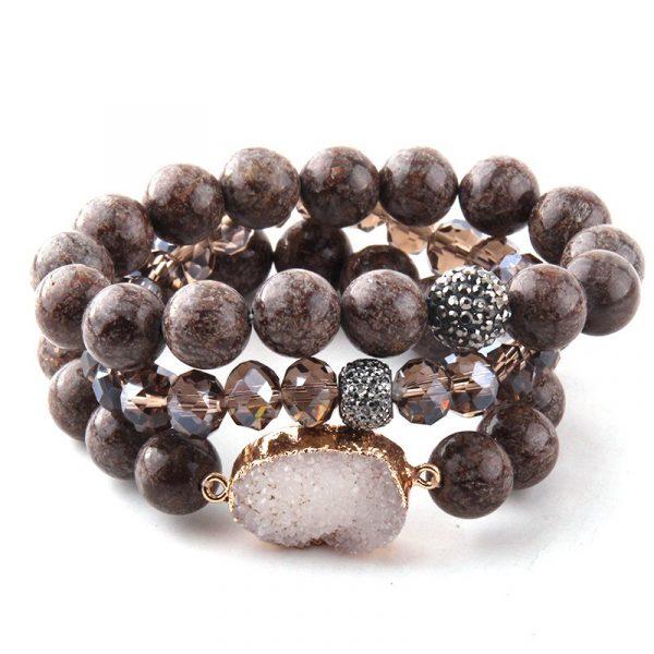 Brown druzy stone layer bracelet with crystal and rhinestone