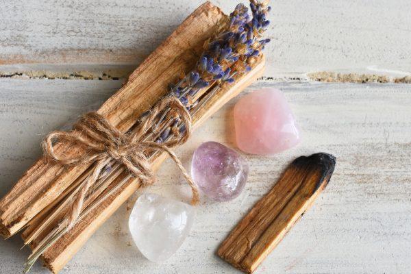 Clear quartz, Rose Quartz, Amethyst crystals for peace