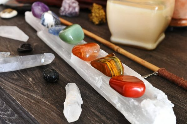 crystals charging on a selenite wand