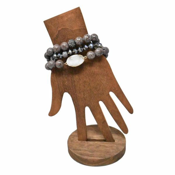 Dark brown layer bracelet with druzy stone pendant