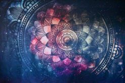 Pink and green flower mandala tapestry