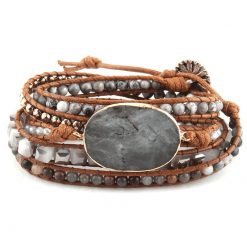 Gray leather wrap bracelet beaded with crystal and stone