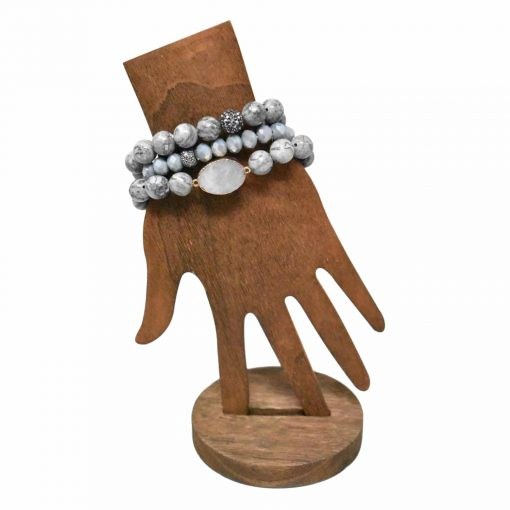 Gray marbled bracelet set with druzy stone pendant