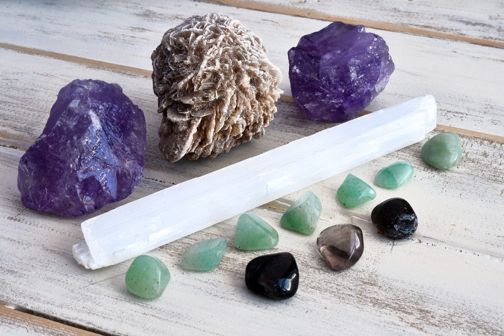 Healing crystals with selenite wand