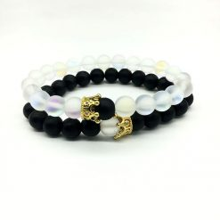 Icy transparent glow distance bracelets for him and her