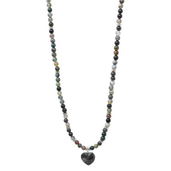 Indian agate mala necklace with heart pendant