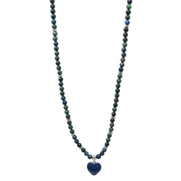 Lapis lazuli dark blue mala necklace with heart pendant