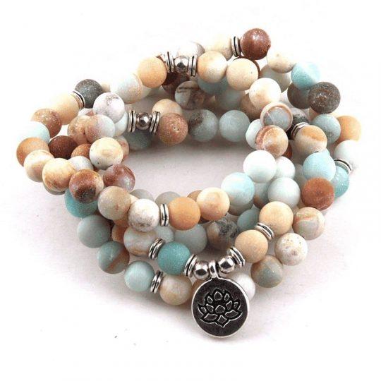 Amazonite mala prayer beads with lotus pendant