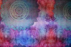 Multi-color flower mandala tapestry