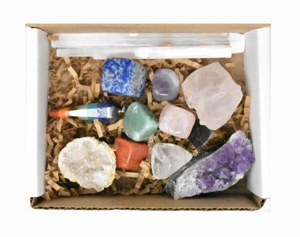 Mixed crystals and 7 chakra stone box set