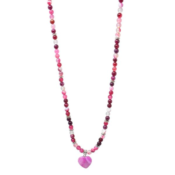 Pink line agate mala necklace with heart pendant