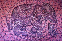 Purple & pink elephant mandala tapestry