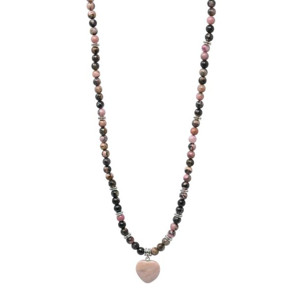 Rhodonite mala necklace with heart pendant